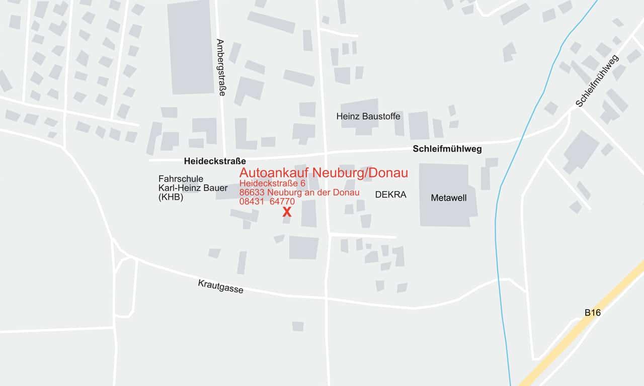 Anfahrtsskizze Autoankauf Neuburg