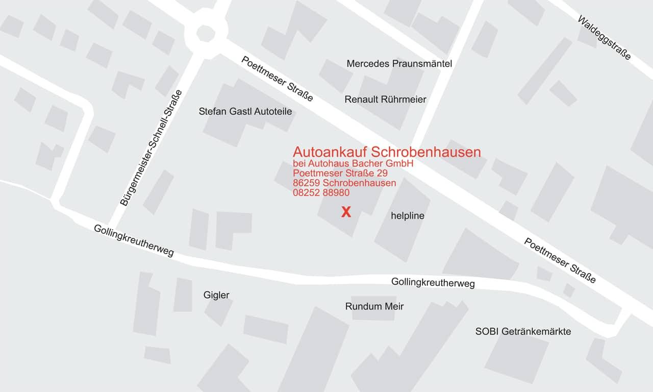 Anfahrtsskizze Autoankauf Schrobenhausen